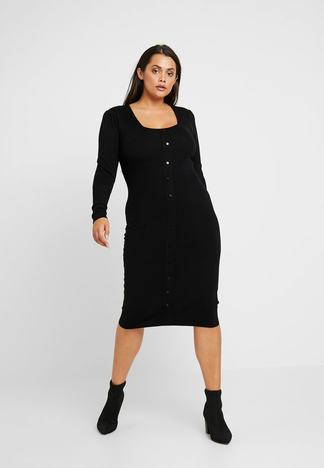 PUFF SLEEVE SQUARE NECK DRESS - Sukienka etui - black