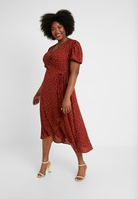 Lost Ink Plus - WRAP SIDE DRESS WITH FRILL - Day dress - multi - 0