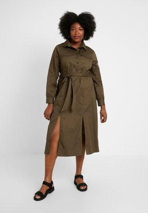 MIDAXI DRESS WITH BELT - Košilové šaty - khaki