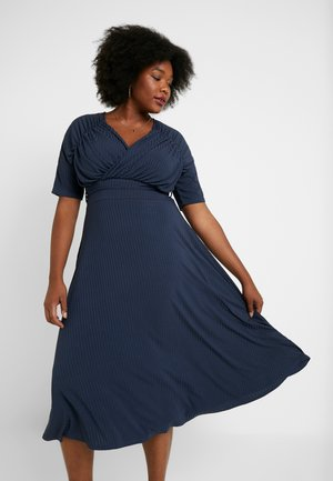EXCLUSIVE DERSS WITH RUCHED SHOULDERS - Day dress - blue