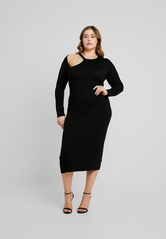 ASYM CUT OUT DRESS - Pouzdrové šaty - black
