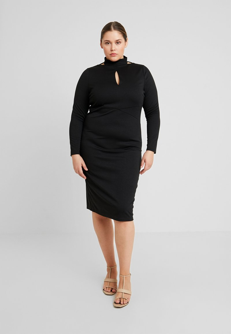 Lost Ink Plus - PLUNGE BODYCON DRESS - Etuikjole - black
