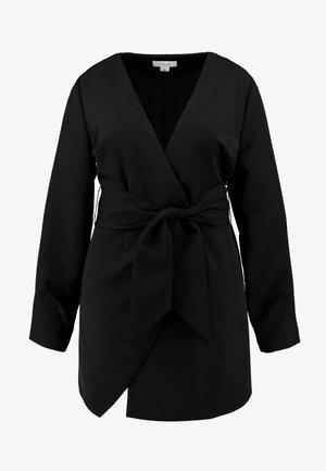 WRAP BELTED MIDI DRESS - Vestito estivo - black