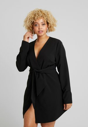 WRAP BELTED MIDI DRESS - Vestido informal - black