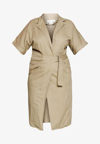 Lost Ink Plus - UTILITY WRAP DRESS - Denimové šaty - beige - 4