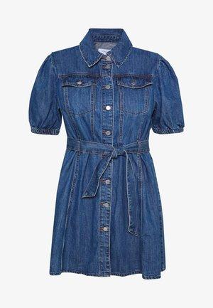 PUFF SLEEVE MINI DRESS - Denimové šaty - dark denim