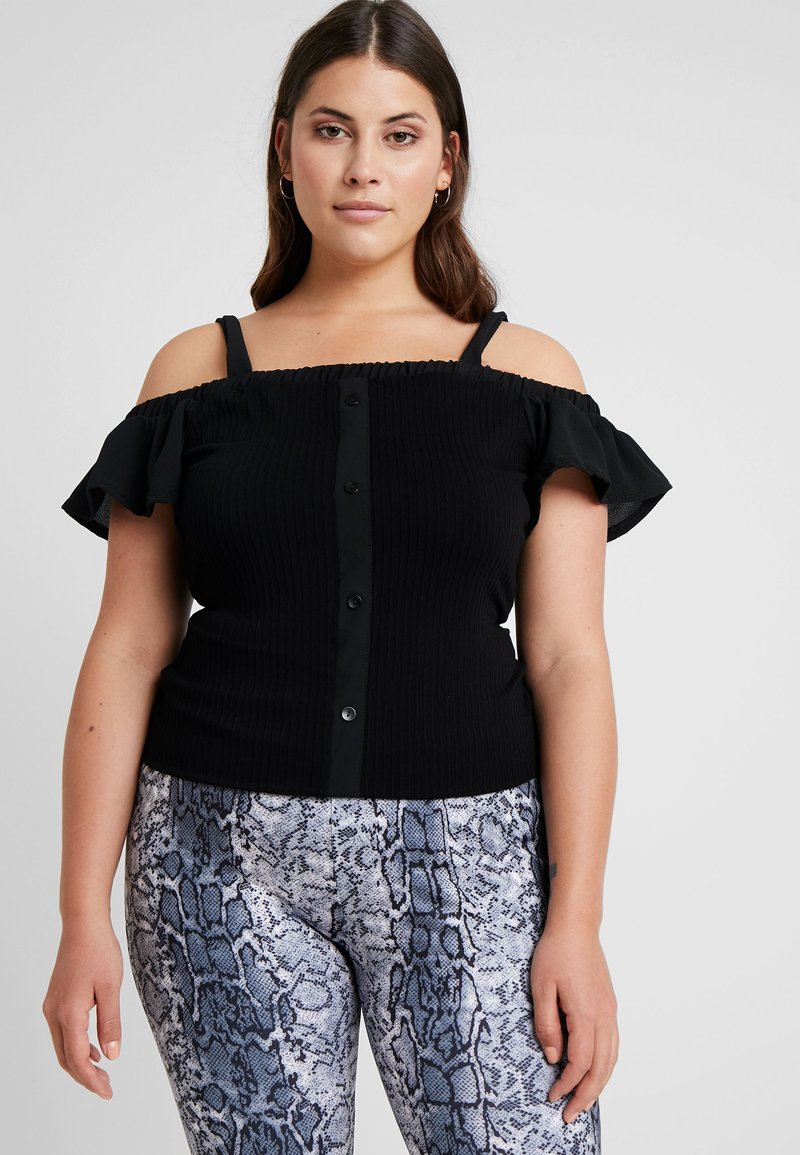 Lost Ink Plus - STRAPPY WITH FLIPPY SLEEVE - T-shirt con stampa - black