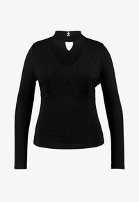 Lost Ink Plus - CHOKER V NECK - Long sleeved top - black - 3