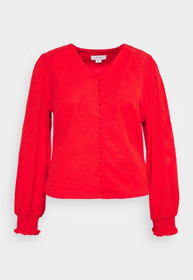 NECK BUTTON FRONT BLOUSE - Top sdlouhým rukávem - red