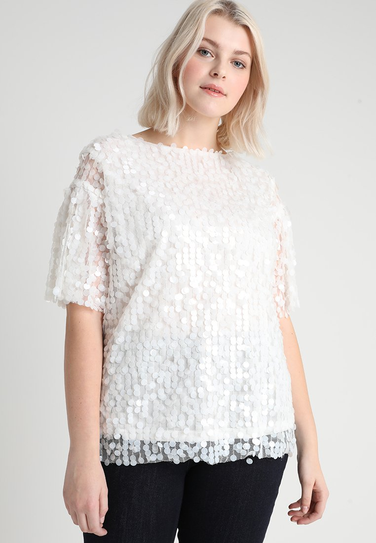Lost Ink Plus - WITH SEQUINS - Blouse - white