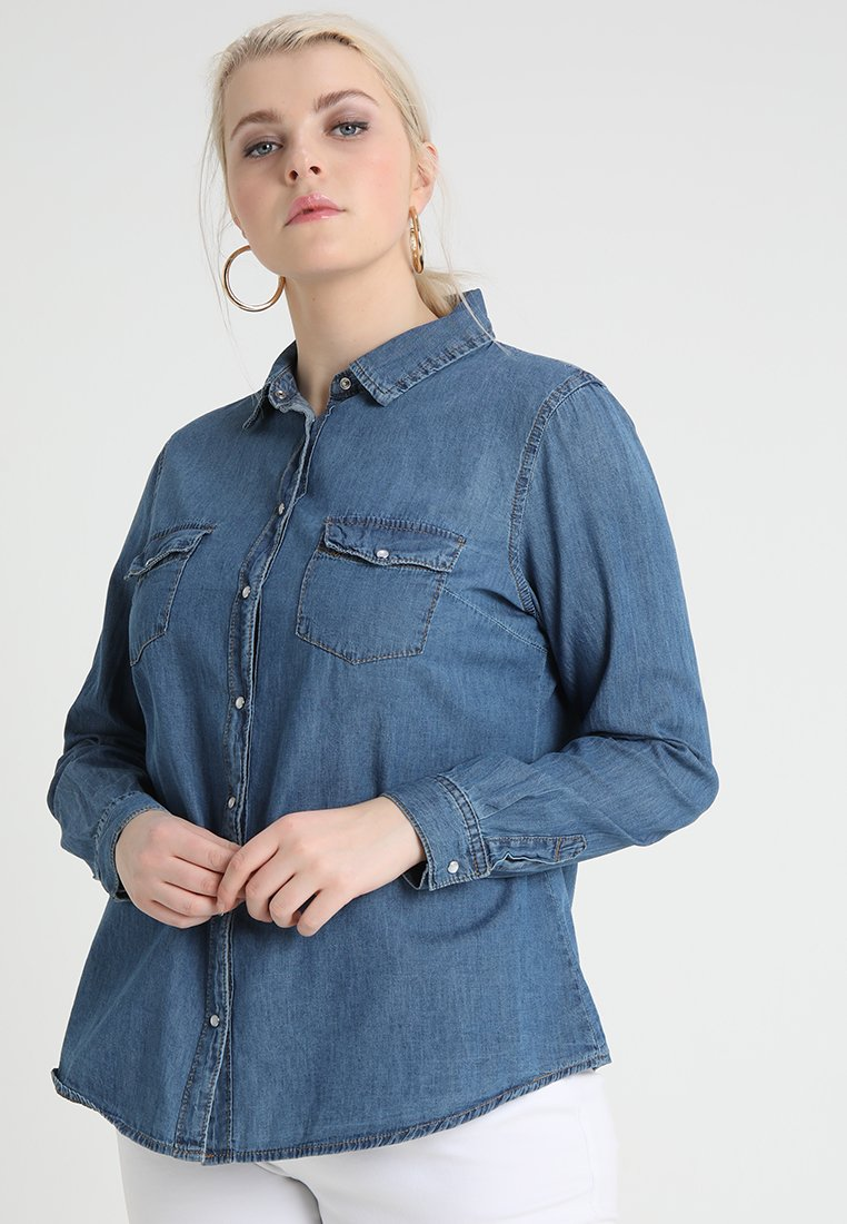 Lost Ink Plus - Button-down blouse - mid denim