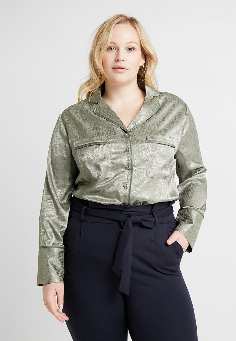 Lost Ink Plus - SOFT IN SNAKE JAQUARD - Blouse - khaki