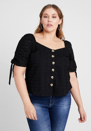 BLOUSE WITH BRODERIE - Blusa - black