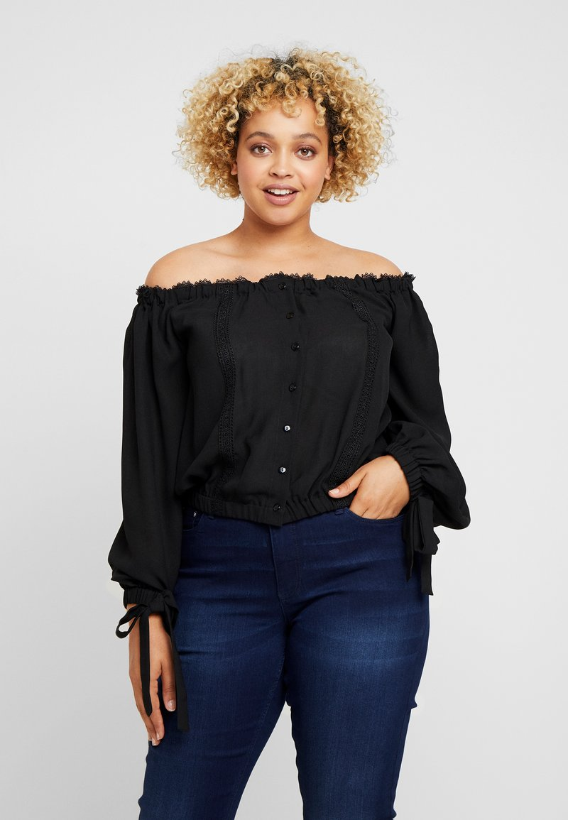 Lost Ink Plus - BARDOT WITH TRIMS - Blouse - black