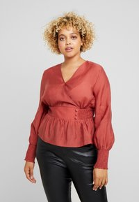 Lost Ink Plus - WRAP WITH BUTTONS - Blusa - pink - 0