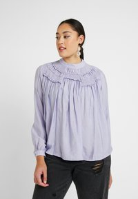Lost Ink Plus - SHIRRED DETAIL FRONT BLOUSE - Blouse - purple - 0