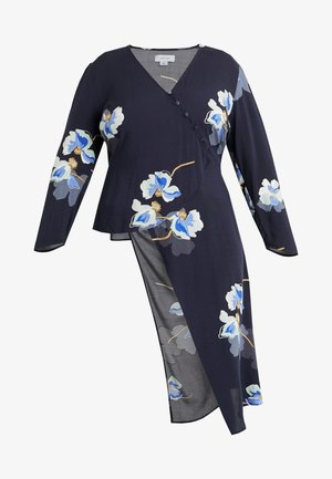 EXCLUSIVE BUTTON FRONT PRINTED BLOUSE - Blůza - navy