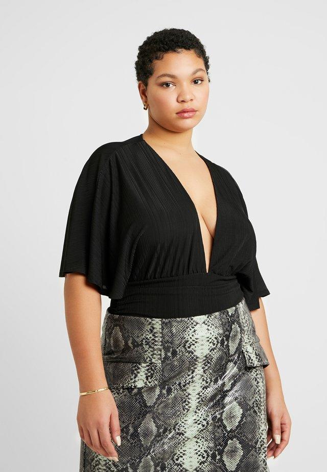 KIMONO PLUNGE BODY - T-shirts med print - black