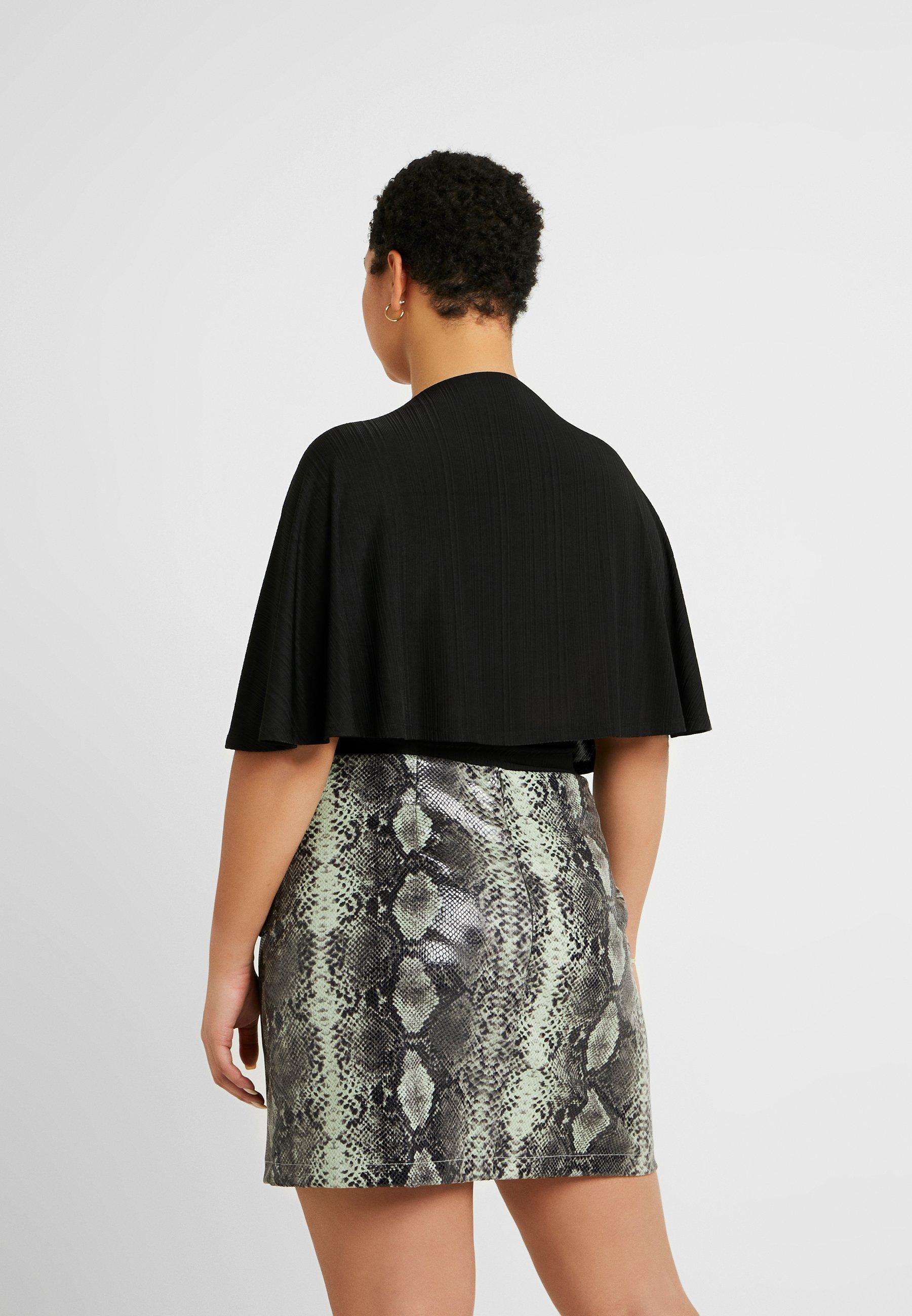Lost Ink Plus KIMONO PLUNGE BODY - T-shirts med print - black
