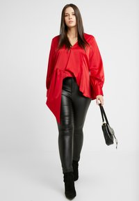 Lost Ink Plus - ASYM WRAP DETAIL BLOUSE - Blouse - red - 0