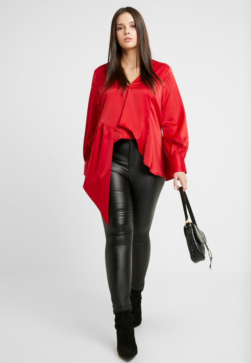 Lost Ink Plus - ASYM WRAP DETAIL BLOUSE - Blouse - red