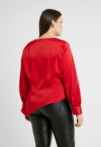 Lost Ink Plus - ASYM WRAP DETAIL BLOUSE - Blouse - red - 2