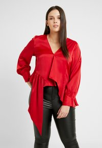 Lost Ink Plus - ASYM WRAP DETAIL BLOUSE - Blouse - red - 3