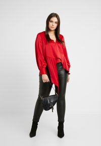 Lost Ink Plus - ASYM WRAP DETAIL BLOUSE - Blouse - red - 1
