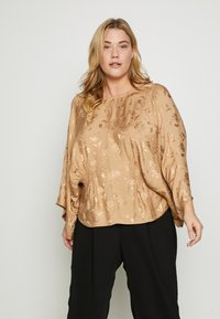 Lost Ink Plus - KIMONO SLEEVE BLOUSE - Blusa - beige - 0