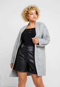 Lost Ink Plus - CABLE CARDIGAN - Cardigan - grey - 0