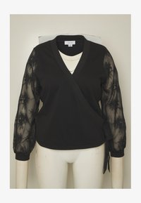 Lost Ink Plus - WRAP FRONT LACE SLEEVE - Mikina - black - 4