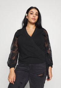 Lost Ink Plus - WRAP FRONT LACE SLEEVE - Mikina - black - 0