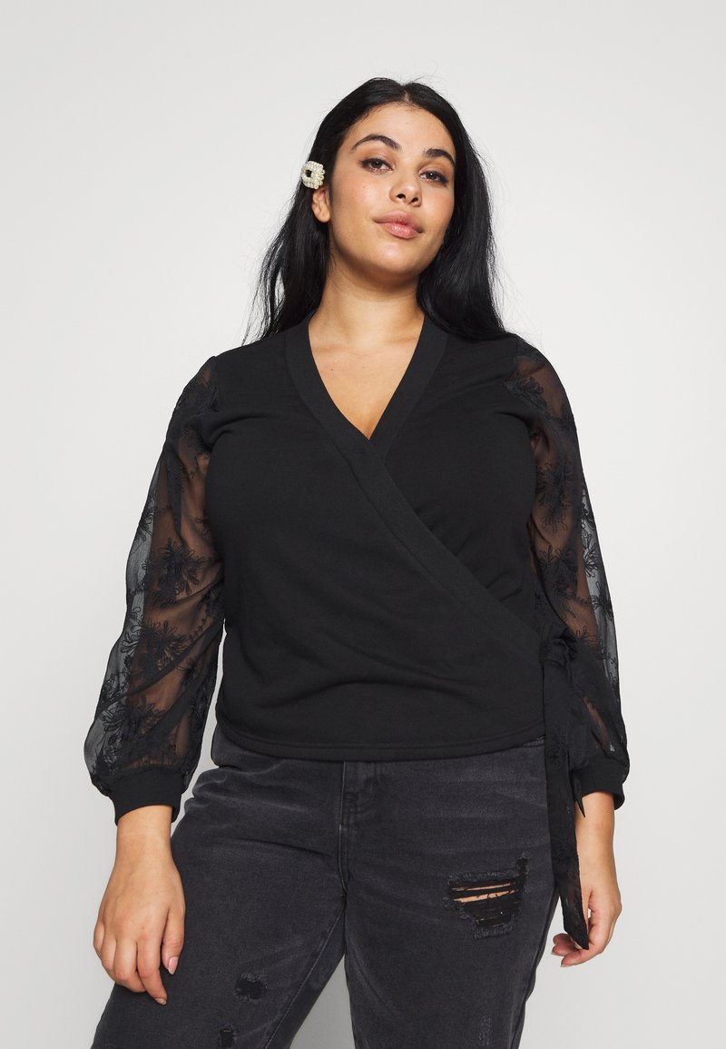 Lost Ink Plus - WRAP FRONT LACE SLEEVE - Mikina - black