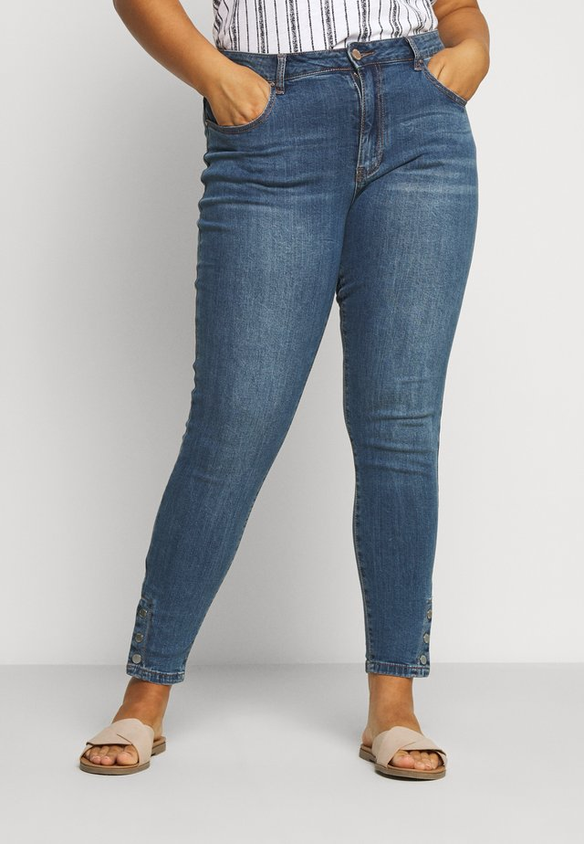 POPPER HEM DETAIL - Jeansy Skinny Fit - mid denim