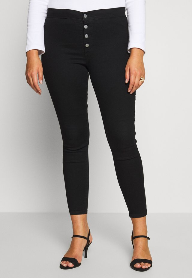 BUTTON FRONT  - Skinny džíny - black