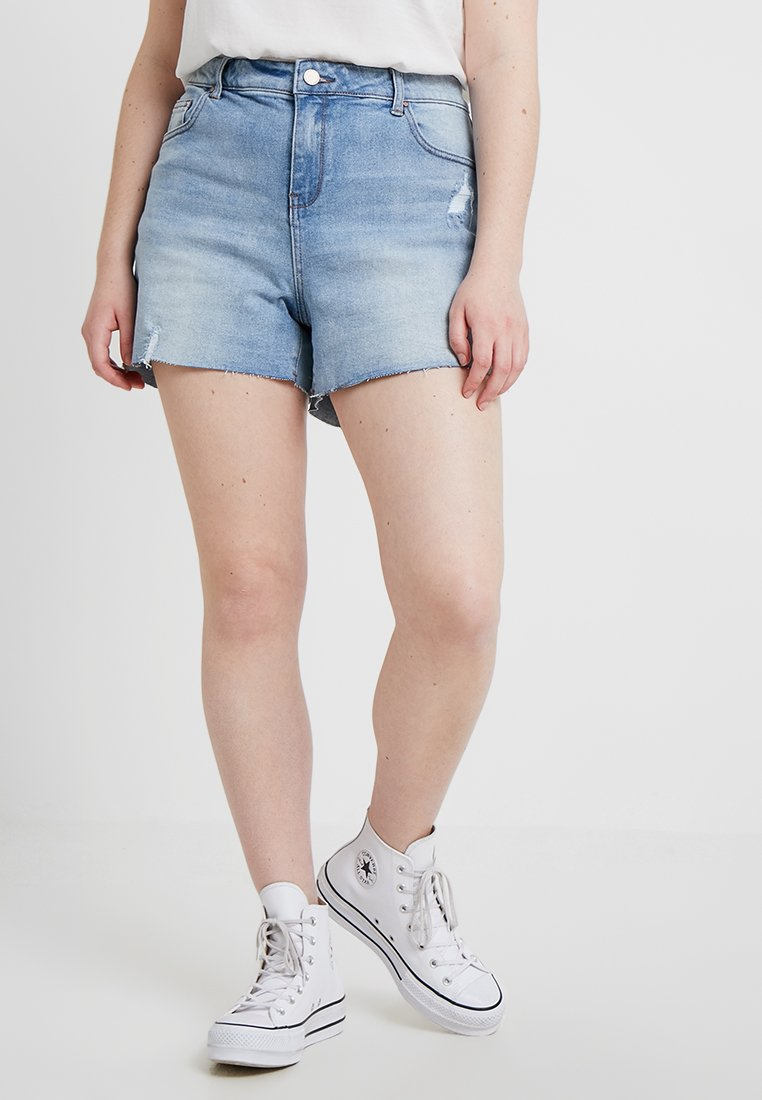 Lost Ink Plus - SHAPER ARTIC WASH - Jeans Shorts - light denim