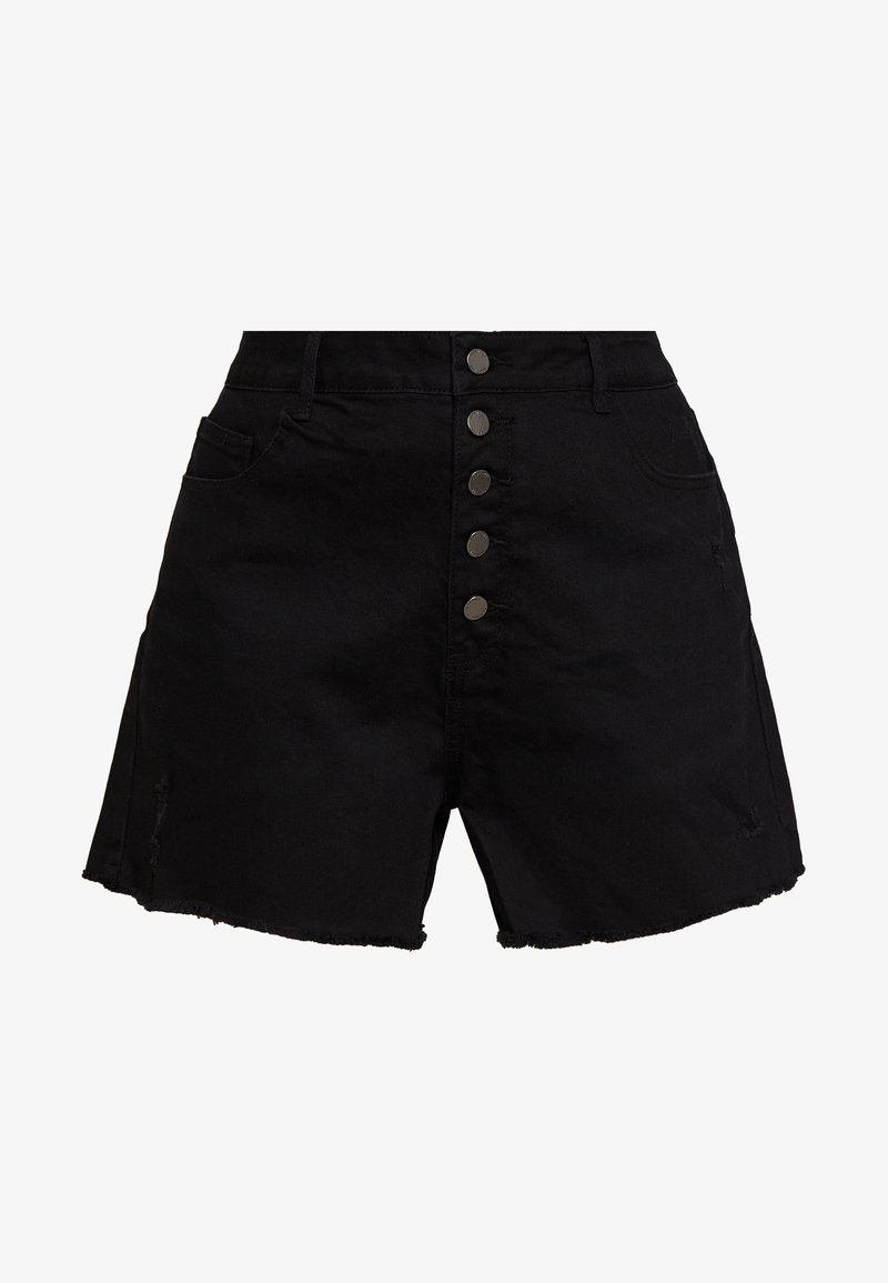 Lost Ink Plus - BUTTON FRONT MOM - Denim shorts - black