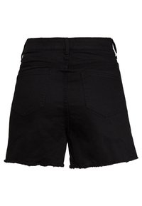 Lost Ink Plus - BUTTON FRONT MOM - Denim shorts - black - 1