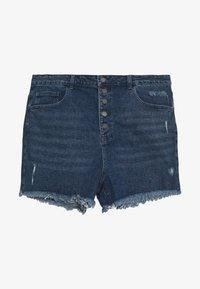 Lost Ink Plus - BUTTON FRONT MOM - Denim shorts - light denim - 0