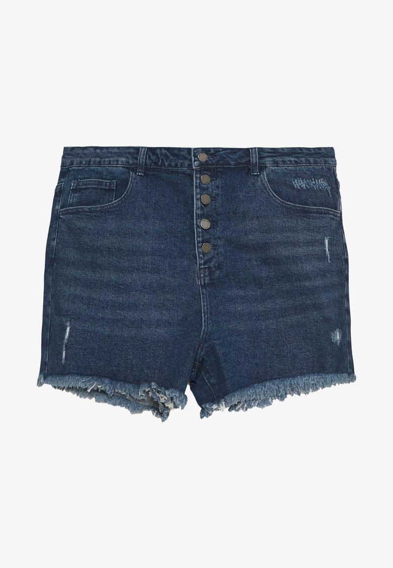 Lost Ink Plus - BUTTON FRONT MOM - Denim shorts - light denim