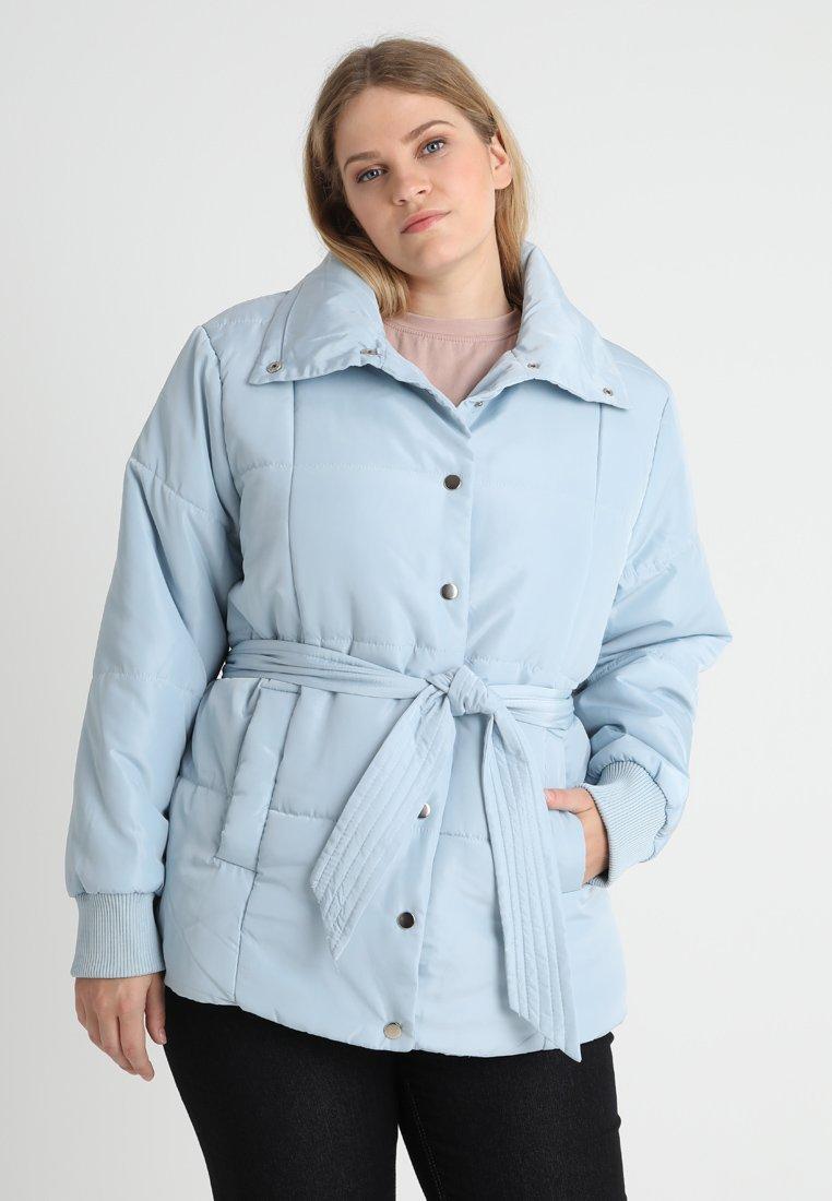 Lost Ink Plus - PADDED COAT WITH BELT - Light jacket - blue