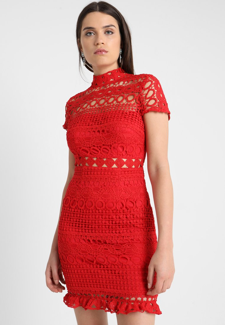 Love Triangle - DOUBLE DOLCE MINI CAP SLEEVE DRESS - Vapaa-ajan mekko - bright red