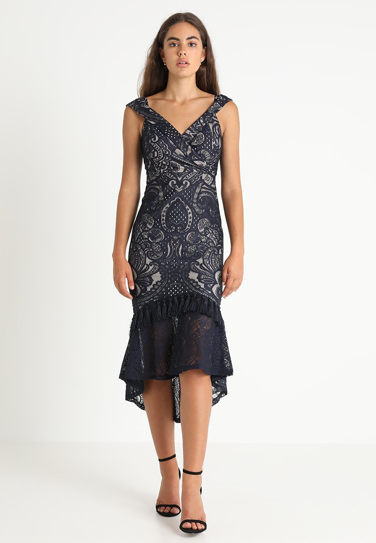 Love Triangle - MONACO BARDOT TASSLE MIDI DRESS - Ballkleid - darkest midnight blue