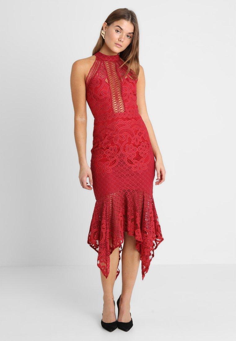 Love Triangle - POPPY HANKY HEM DRESS - Occasion wear - merlot
