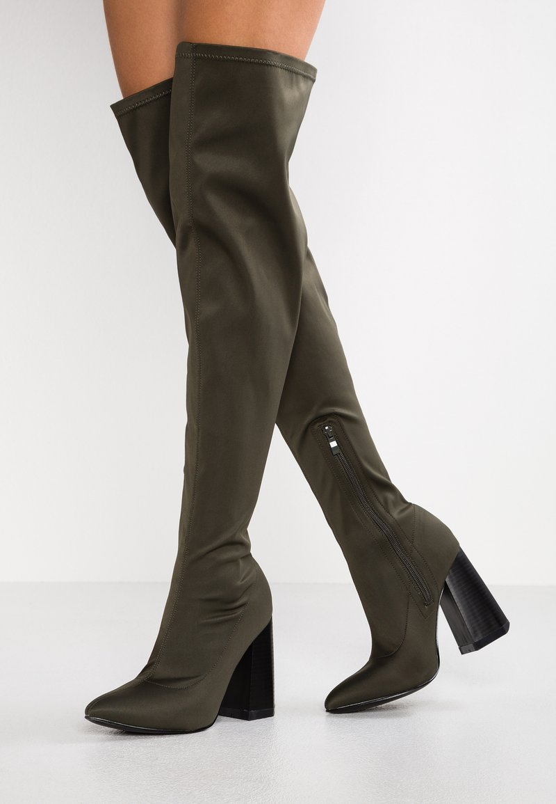 Lost Ink Wide Fit - WIDE FIT STRETCH - High heeled boots - khaki