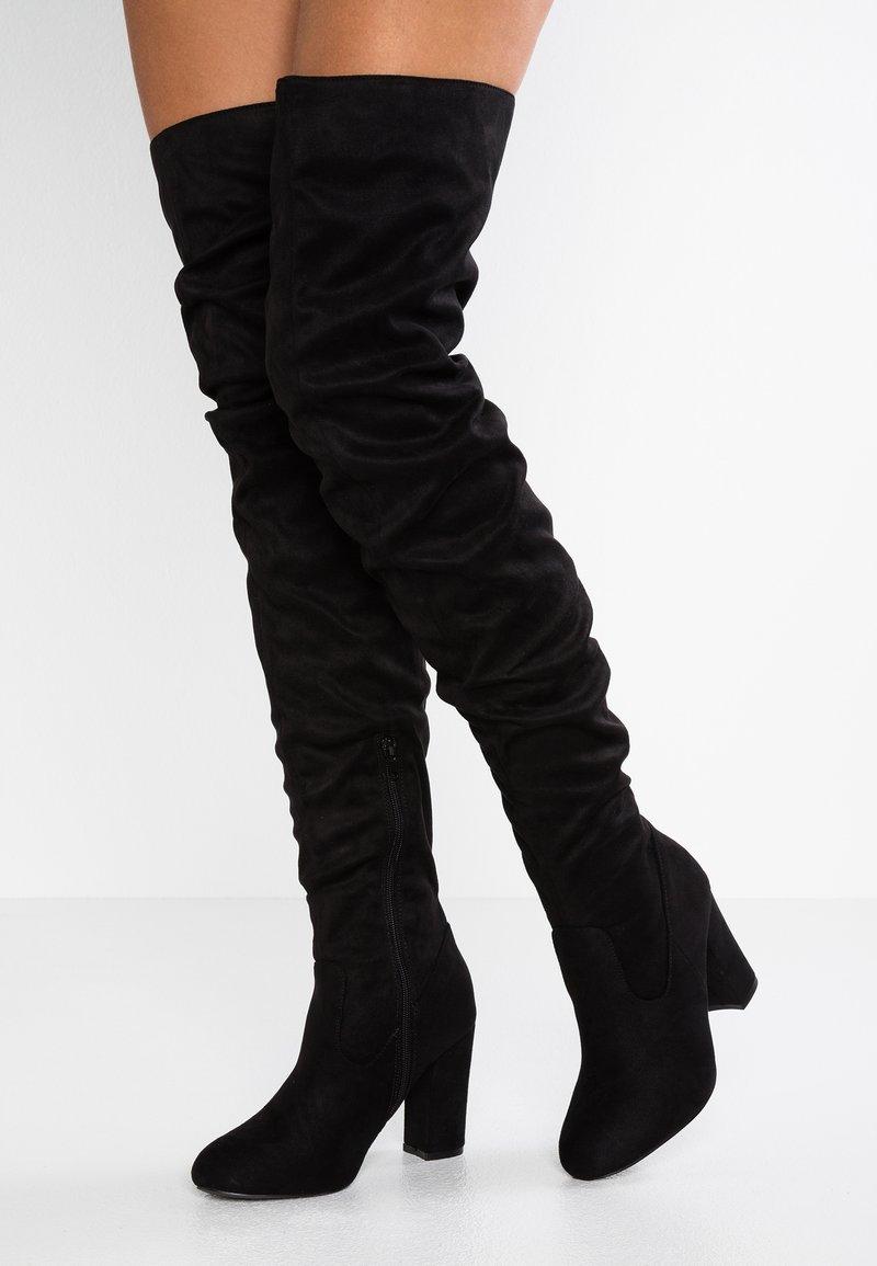 Lost Ink Wide Fit - WIDE FIT SLOUCHY - Højhælede støvler - black