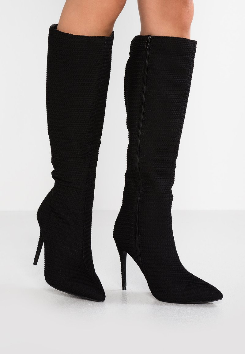 Lost Ink Wide Fit - WIDE FIT DIXIE POINTED KNEE BOOT - High heeled boots - black