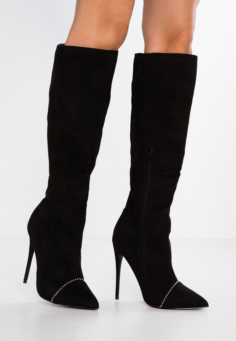Lost Ink Wide Fit - WIDE FIT DAWN STUD STILLETTO LONG BOOT - High heeled boots - black