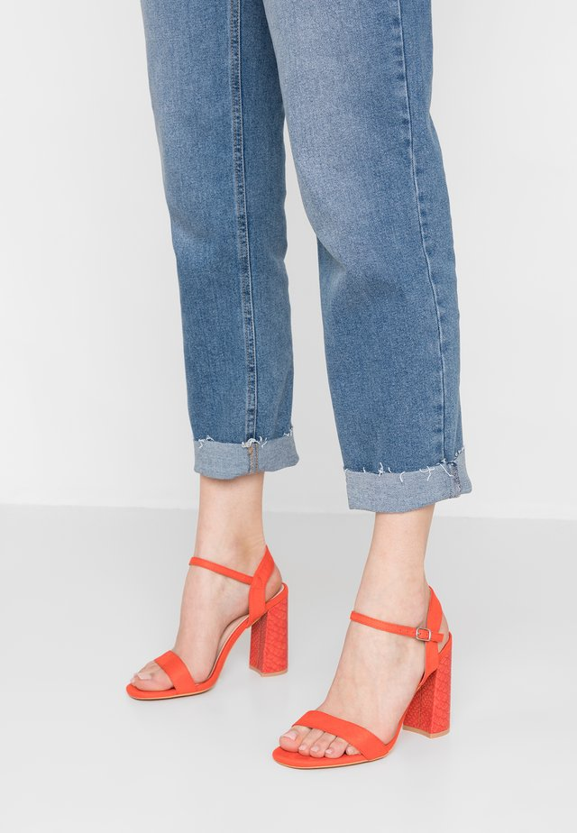 WIDE FIT TALIA BLOCK SNAKE - High heeled sandals - orange