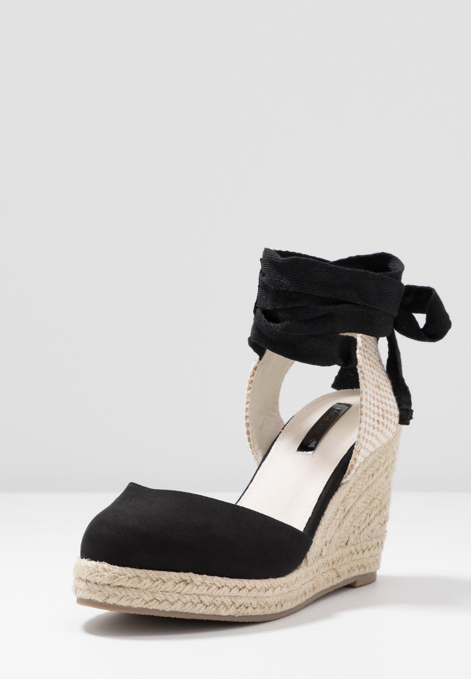 Lost Ink Wide Fit ANKLE WRAP WEDGE  - High Heel Sandalette - black